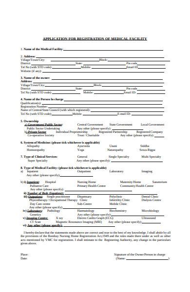 medical registration facility form
