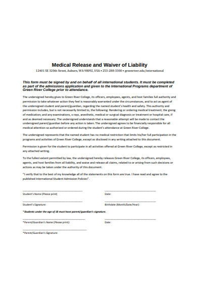 medical release and waiver of liability form