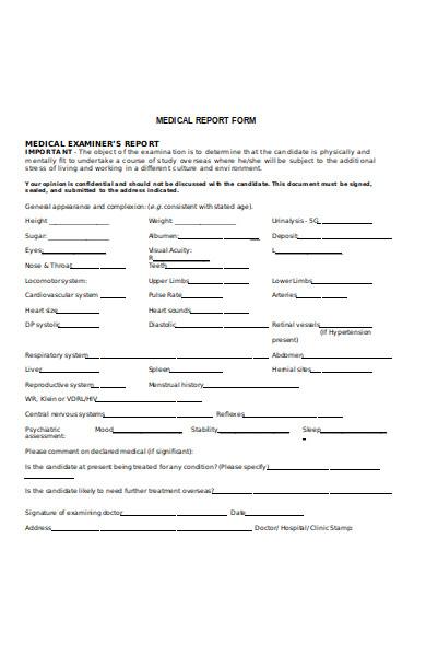 medical scholarship report form