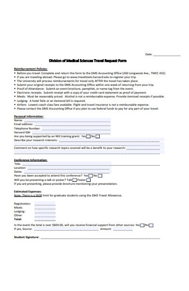 medical science travel request form