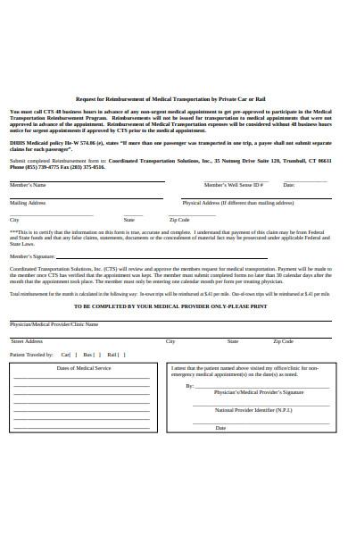 medical transportation reimbursement form