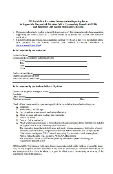 medical treatment report form