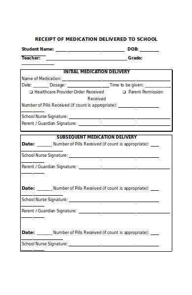 medication delivery form