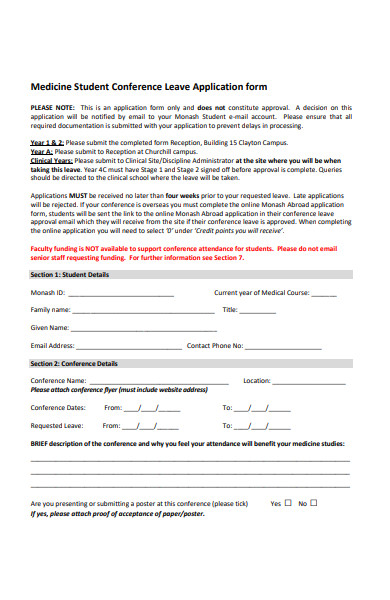 medicine student conference leave application form