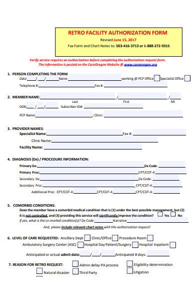 member facility form