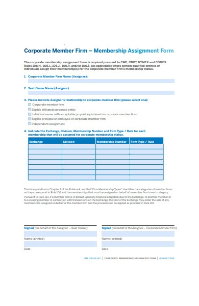 membership assignment form