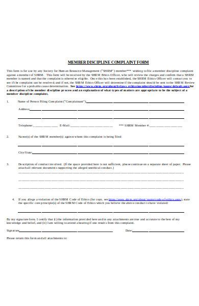 membership discipline complaint form