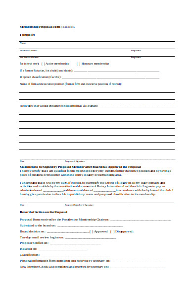 membership proposal form