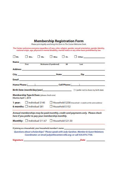 membership registration form format