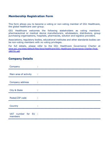 membership registration form sample