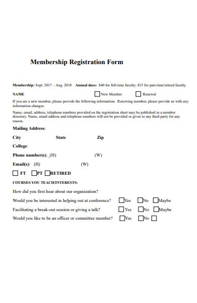 membership registration form template