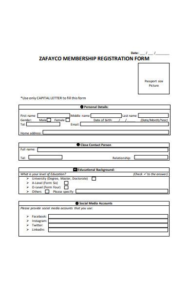 membership registration form in pdf