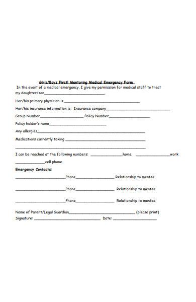 mentoring emergency form