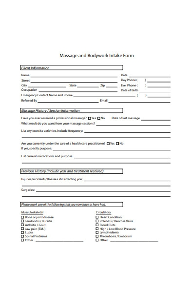 message and bodywork intake form