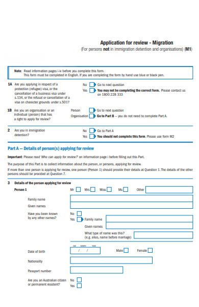migration review form