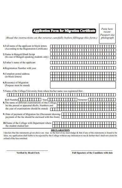 migration statement form