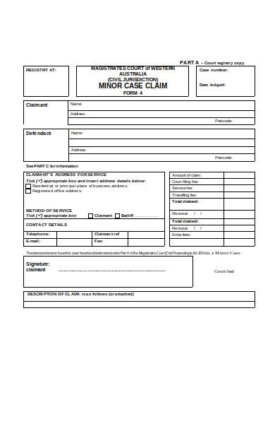 minor case claim form