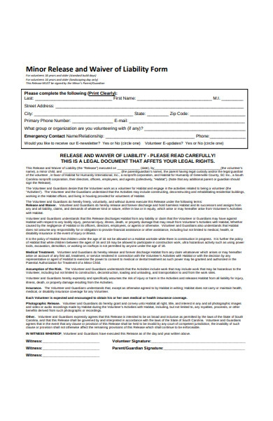 minor release and waiver of liability form