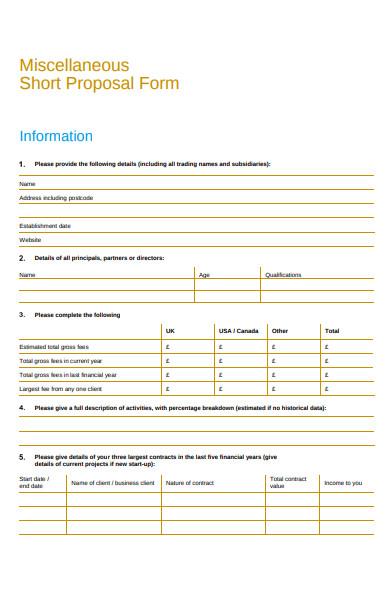 miscellaneous short proposal form