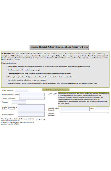 missing receipt acknowledgement form