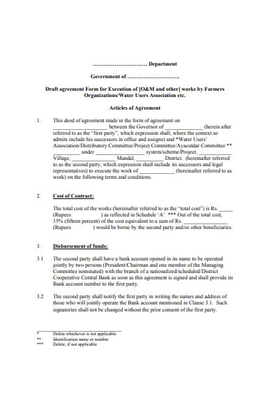 model agreement form