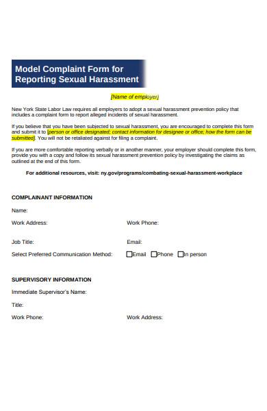 model complaint form