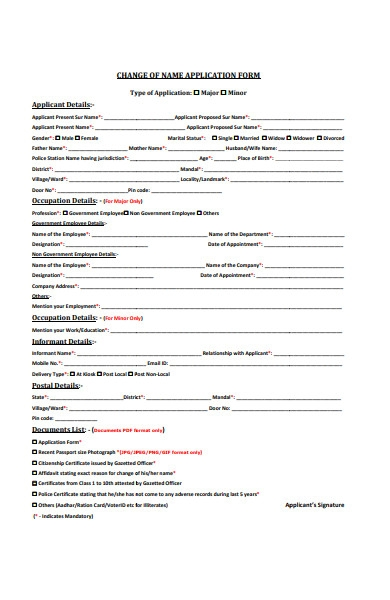 name change application forms