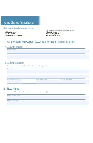 name change authorization forms