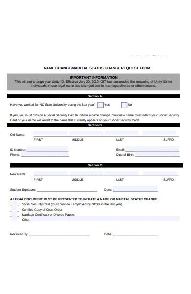 name change status form