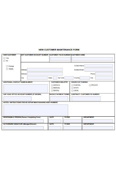 new customer maintenance form