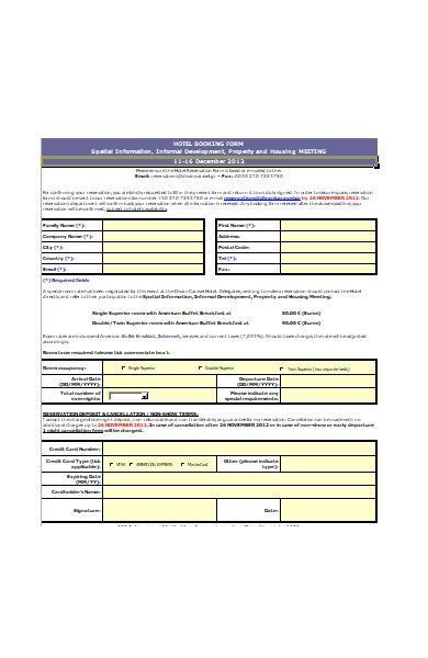 new hotel booking form