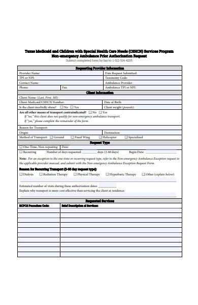 non emergency ambulance prior authorization request form