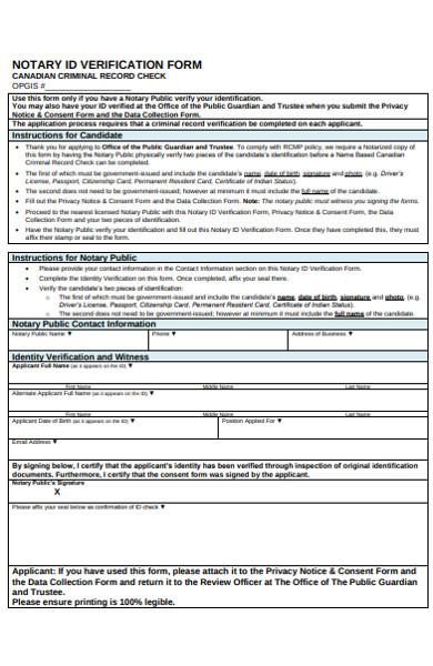 notary id verification form