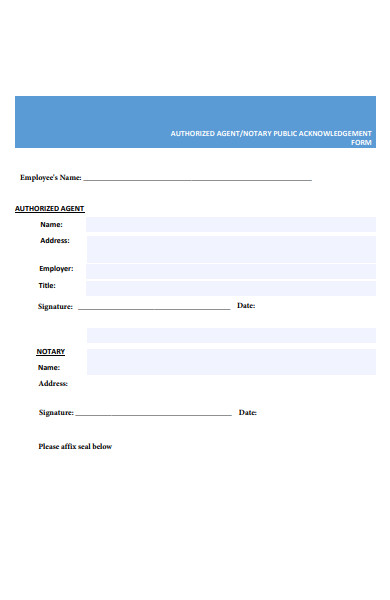 notary public acknowledgement form