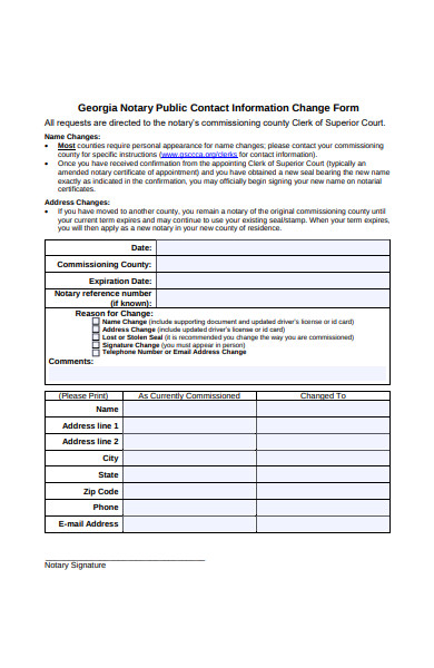 notary public contact information change form