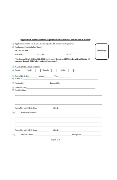 notice application form