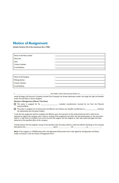 notice form of assignment