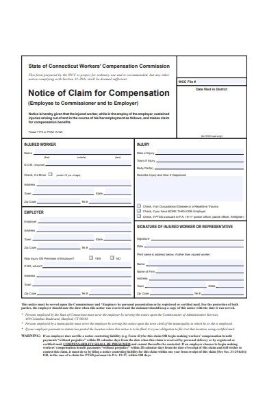 notice form of claim for compensation