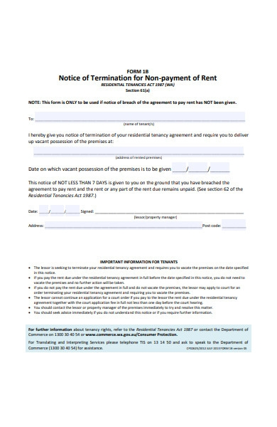 notice of termination form