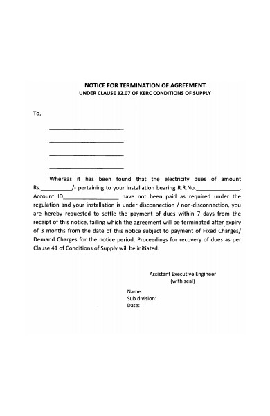notice of termination of agreement