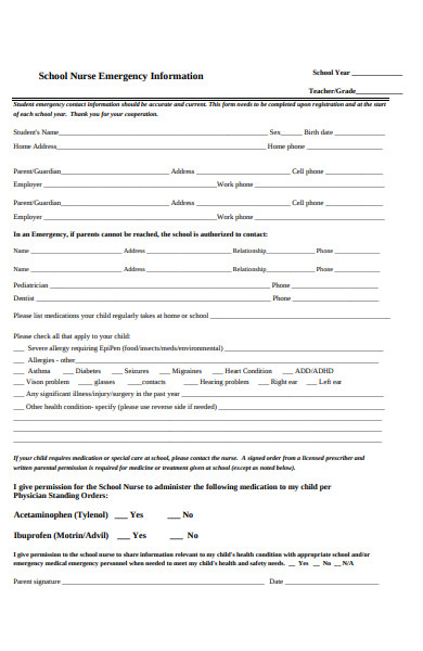 nurse emergency information form