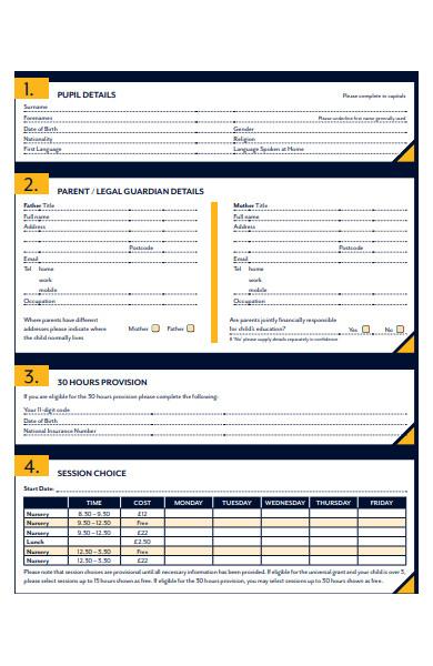 nursery child information form