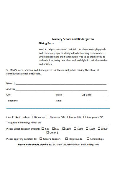 nursery kindergarten giving form