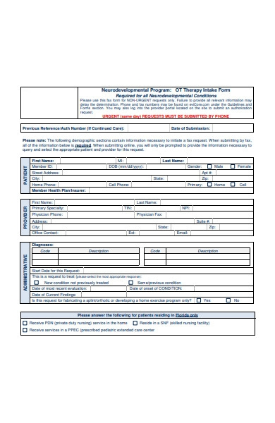 ot therapy intake form