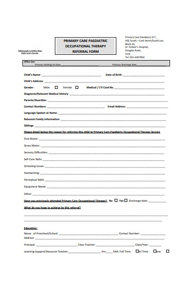 occupational therapy referral form