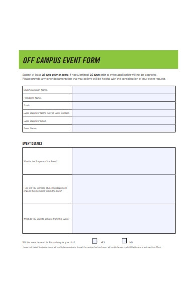 off campus event form