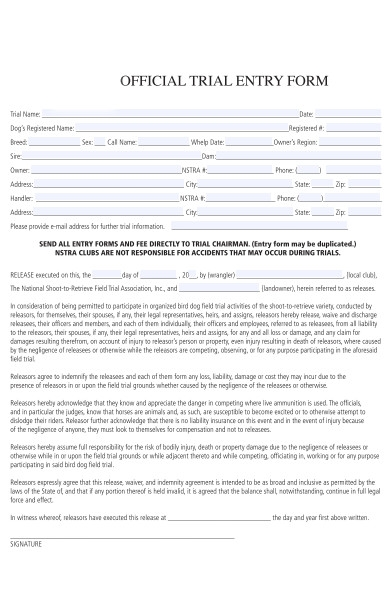 official trail entry form