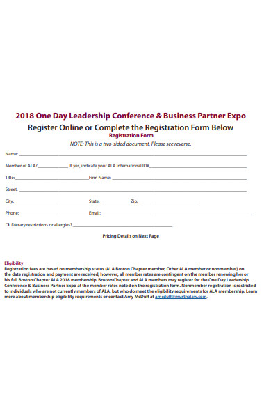 one day leadership conference registration form