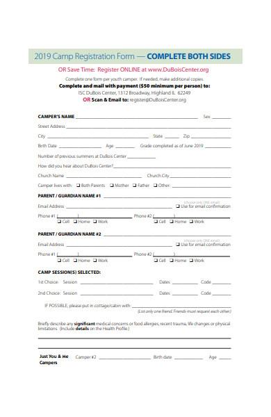 online camp registration form