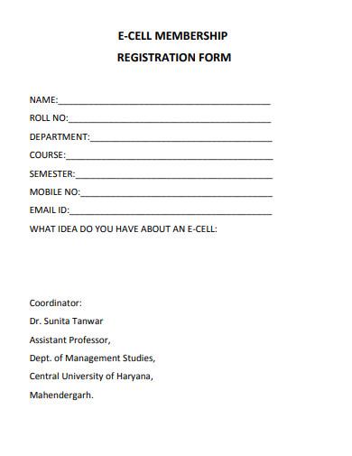 online membership registration form